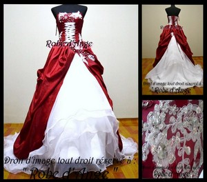 Robe de mariée bordeaux et blanche - Boutique robe-d-ange.wifeo.com