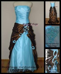 Robe de soiree bleu turquoise et marron
