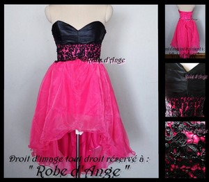 Robe cocktail noir et rose