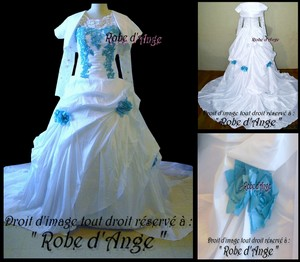 robe de mariage bleu et blanche. Black Bedroom Furniture Sets. Home Design Ideas